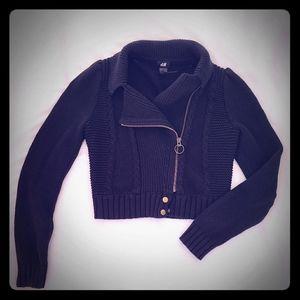 Moto zip cotton cropped sweater